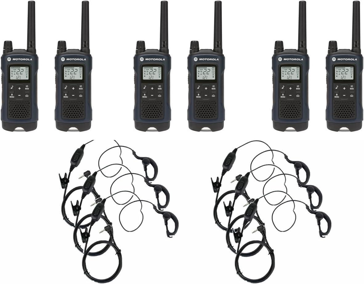 Motorola T460 Two-Way Radio/Walkie Talkie 6 Pack with 6 Curl Earpieces