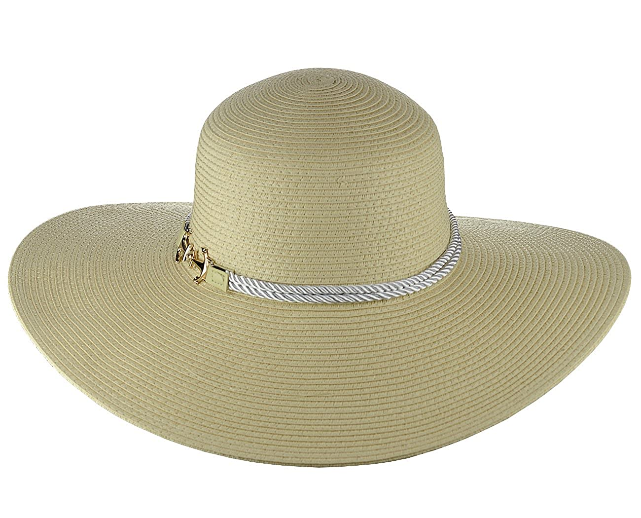 Something Special Womens Nautical Anchor Rope Band Floppy Brim Sun Hat
