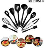 Silicone Cooking Utensils 10 Sets, High-Quality Heat-Resistant Non-Stick Easy To Clean Kitchen Baking Tools kitchen Utensils Soup Spoon,spatula,Whisk(Black) By THKJW