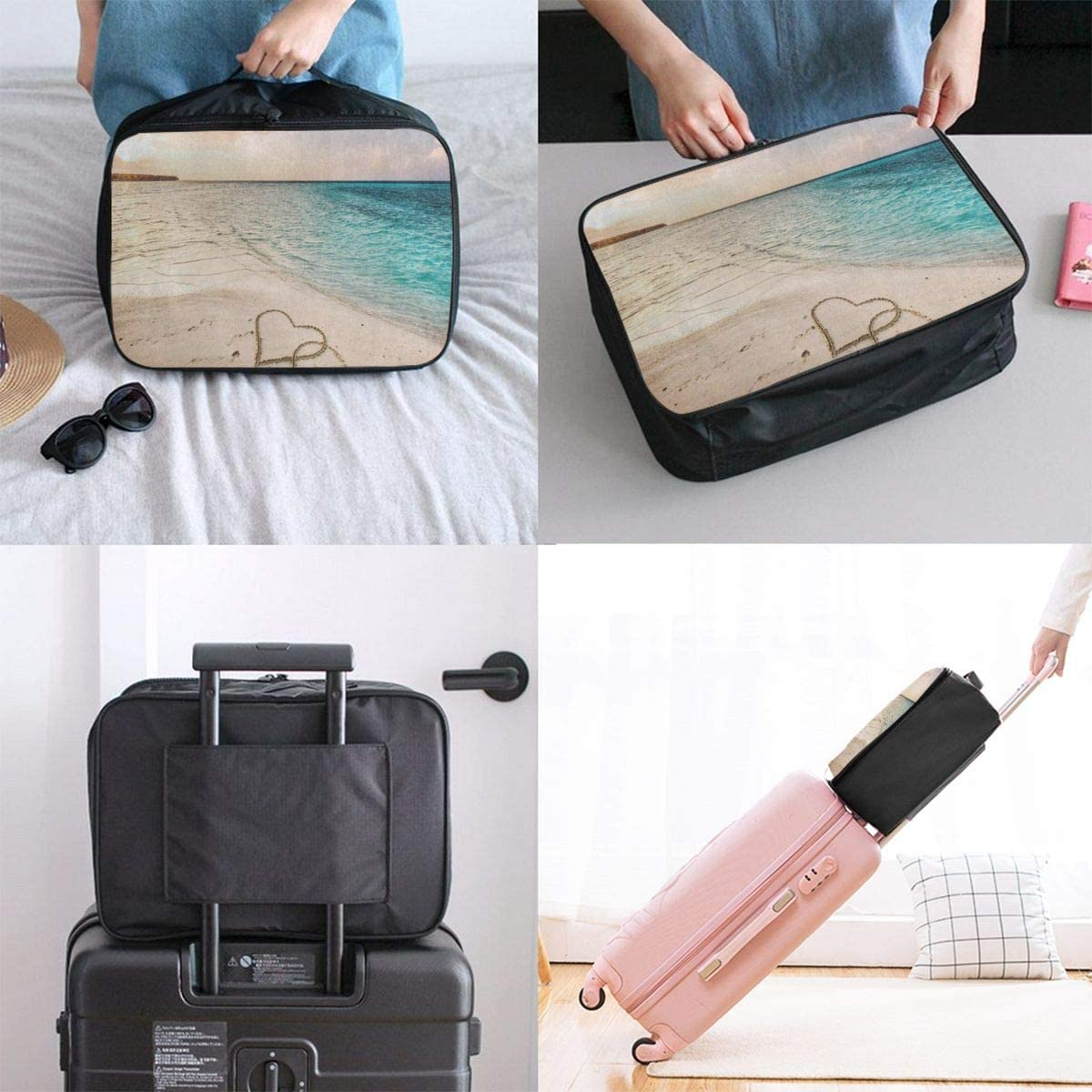 Travel Bags Two Hearts Love Sandy Beach Sea Portable Tote Customized Trolley Handle Luggage Bag