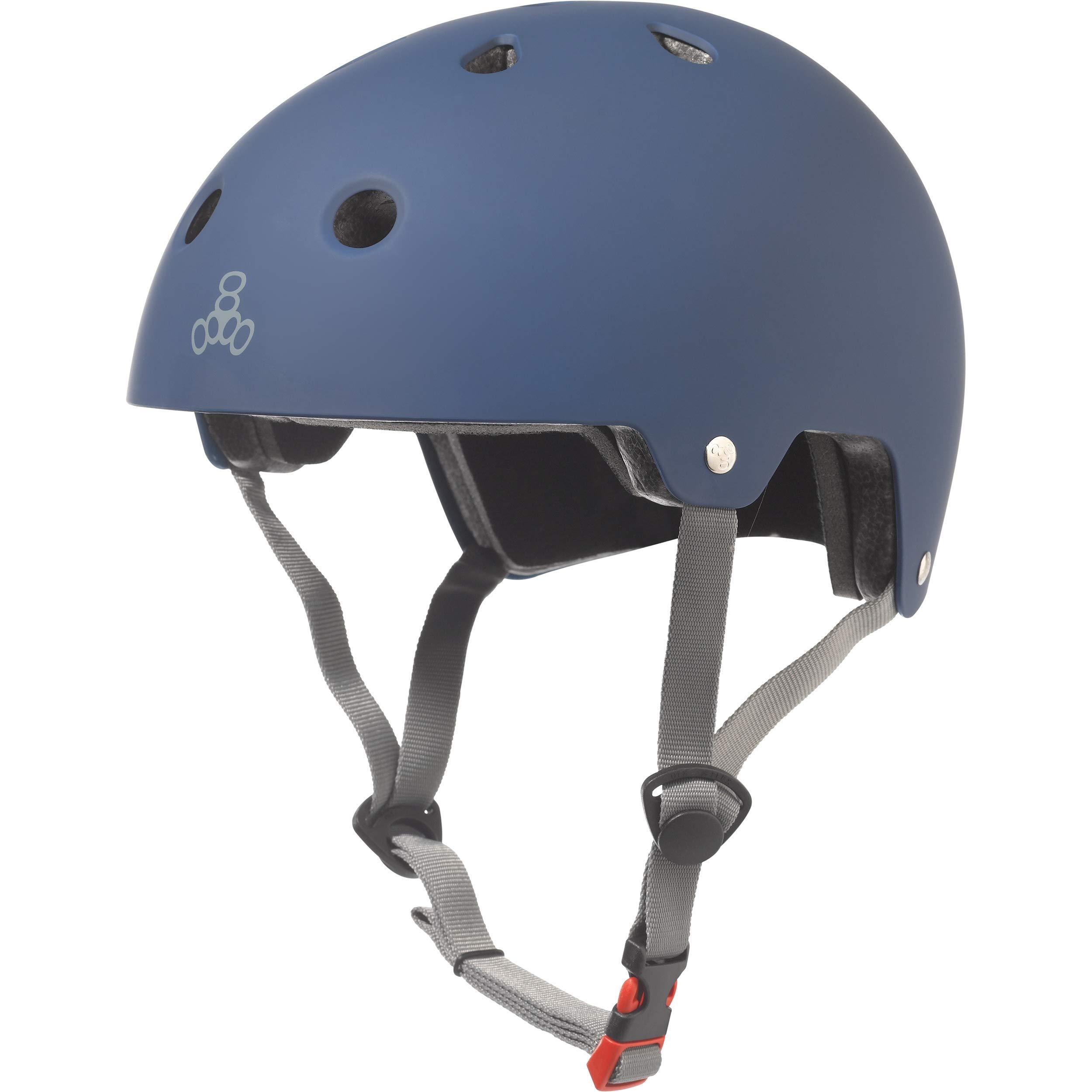 Triple Eight Dual Certified Bike and Skateboard Helmet, Blue Matte, X-Small / Small