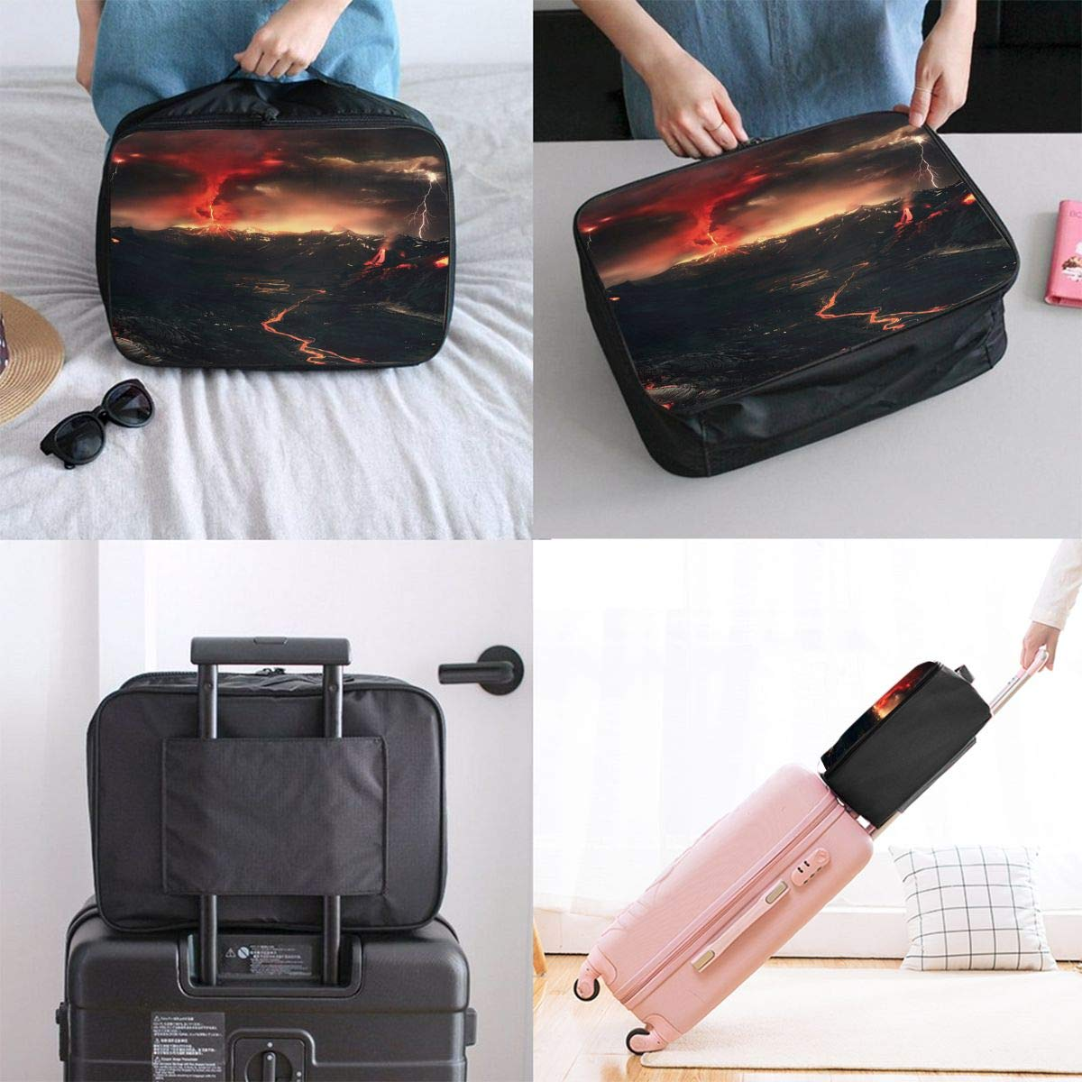 Travel Luggage Duffle Bag Lightweight Portable Handbag Fantasy Volcano Pattern Large Capacity Waterproof Foldable Storage Tote