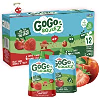 GoGo squeeZ Unsweetened Applesauce Pouches, Variety Pack (Apple/Apple Strawberry Flavours), No Sugar Added - 1,080 Grams…