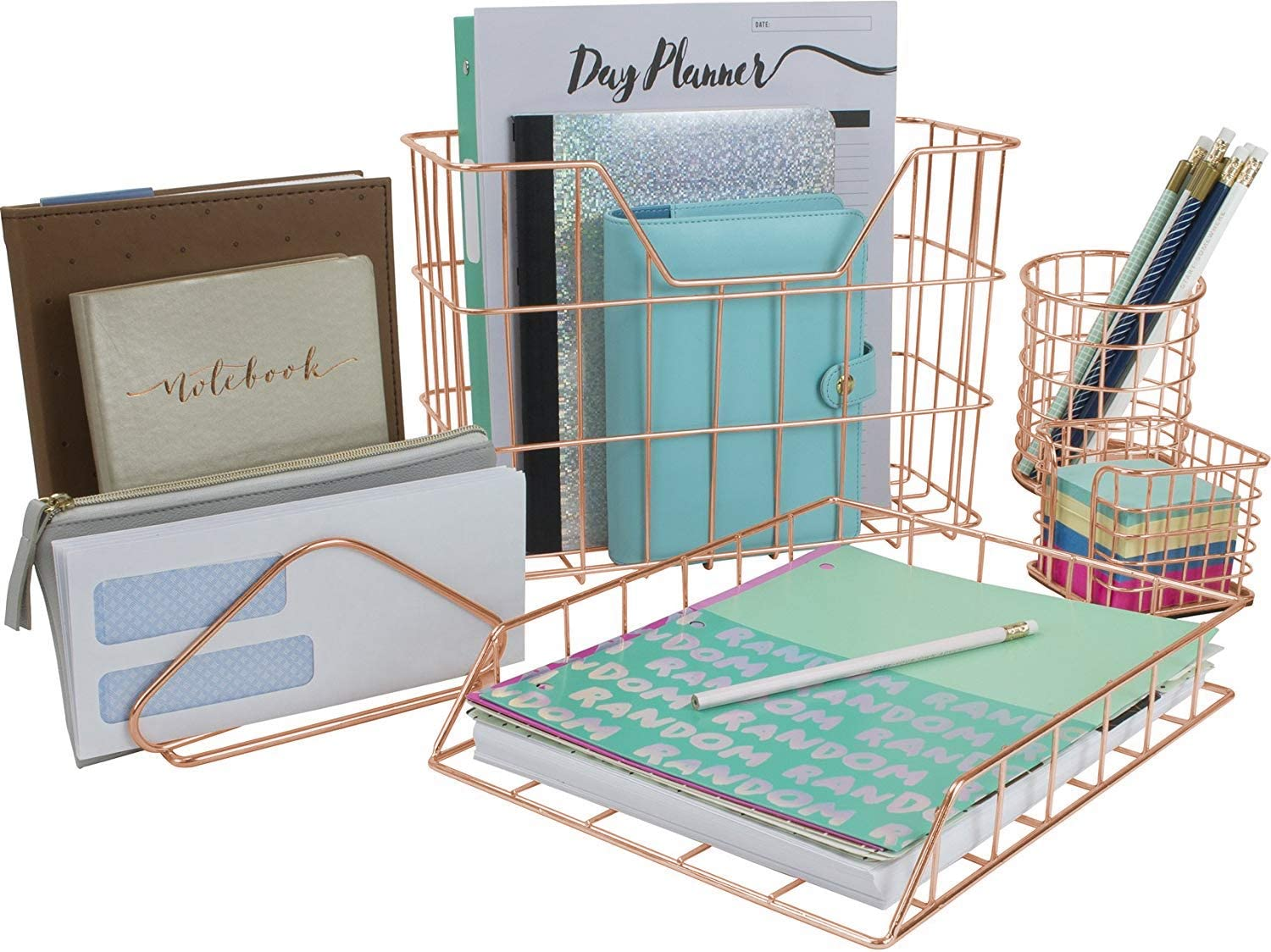 Sorbus Desk Organizer Set, Rose Gold 47-Piece Desk Accessories Set Includes  Pencil Cup Holder, Letter Sorter, Letter Tray, Hanging File Organizer, and