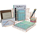 Sorbus Desk Organizer Set, 5-Piece Desk Accessories Set Includes Pencil Cup Holder, Letter Sorter, Letter Tray, Hanging File Organizer, and Sticky Note Holder for Home or Office (Copper/Rose Gold)