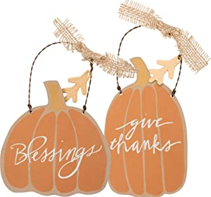 Primitives by Kathy Fall Pumpkin Ornaments, Set of 2, Blessings/Give Thanks