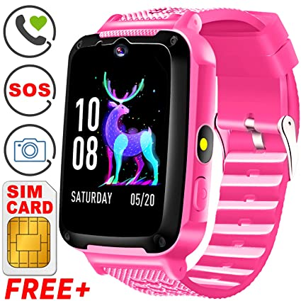 Kids Phone Smart Watch with Free SIM Card Kids Smartwatch for 3-14 Year Boys Girls Kid Anti-Lost Touch Screen Camera Game Digital Wrist Sport Outdoor ...