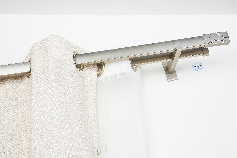 Doppelte Gardinenstange 31x12 mm  Länge  220 cm, cm, cm, ohne ringe (geeignet für Öse 4cm) rechtwinklig gebürsteter Edelstahl – komplett 556064