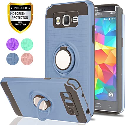 Samsung Galaxy J2 Core Case with HD Phone Screen Protector,YmhxcY 360 Degree Rotating Ring /& Bracket Dual Layer Resistant Back Cover for Samsung Galaxy J2 Core 2018 5.0 -ZH Metal Slate