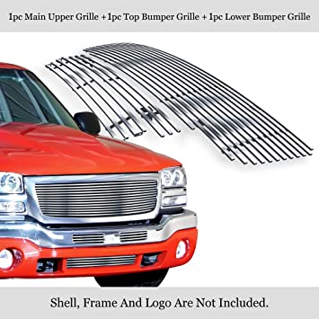 APS Compatible with 2003-2006 GMC Sierra 1500 2500 3500 /& 07 Classic Stainless Steel Silver 8x6 Horizontal Billet Grille Insert Combo S18-C69776G