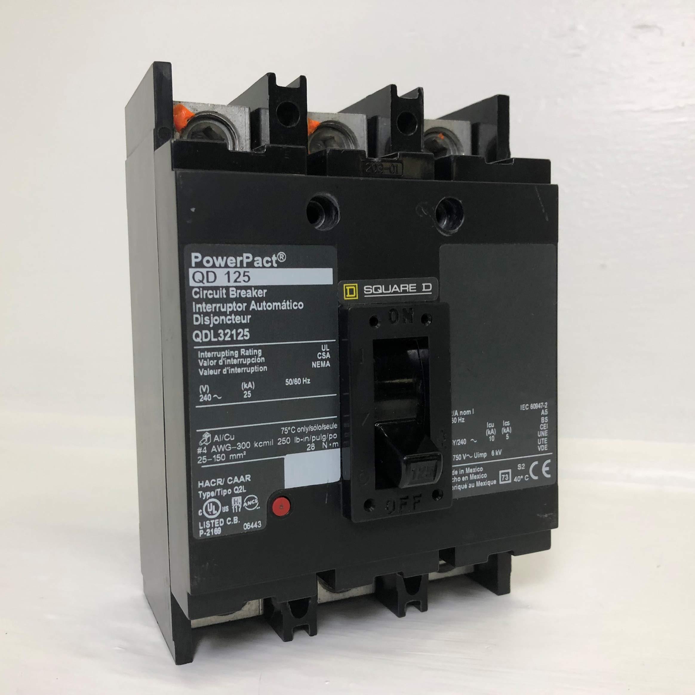 Square D - QDL32125 - Circuit Breaker, 125 Amps, Number of Poles: 3, 240VAC AC Voltage Rating