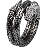 2018 Cool Punk Crystal Flexible Silver Mesh Snake Bracelet Slinky Dance Bangle Bracelet Arm Accessory Mother's Day Gift
