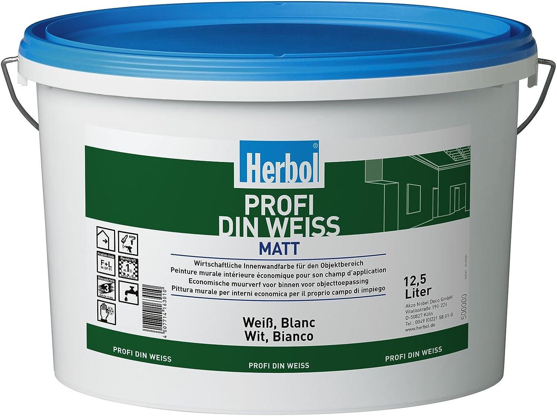 Herbol Profi Din Weiss Altweiss Wandfarbe Innenfarbe Matt 12 5 L Amazon De Baumarkt
