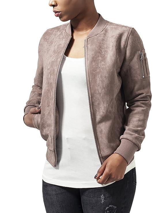 mejor proveedor materiales superiores outlet(mk) Urban Classics Ladies Imitation Suede Bomber Jacket Chaqueta para Mujer