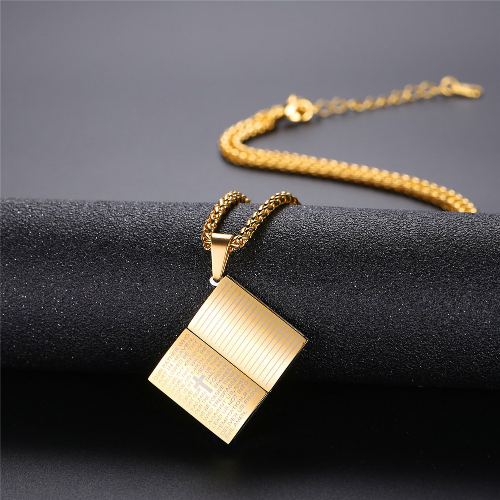 Customizable U7 Men Women Simple Cross Necklace Faith on God Lords Prayer Jewelry Stainless Steel//Black //18K Gold Chain