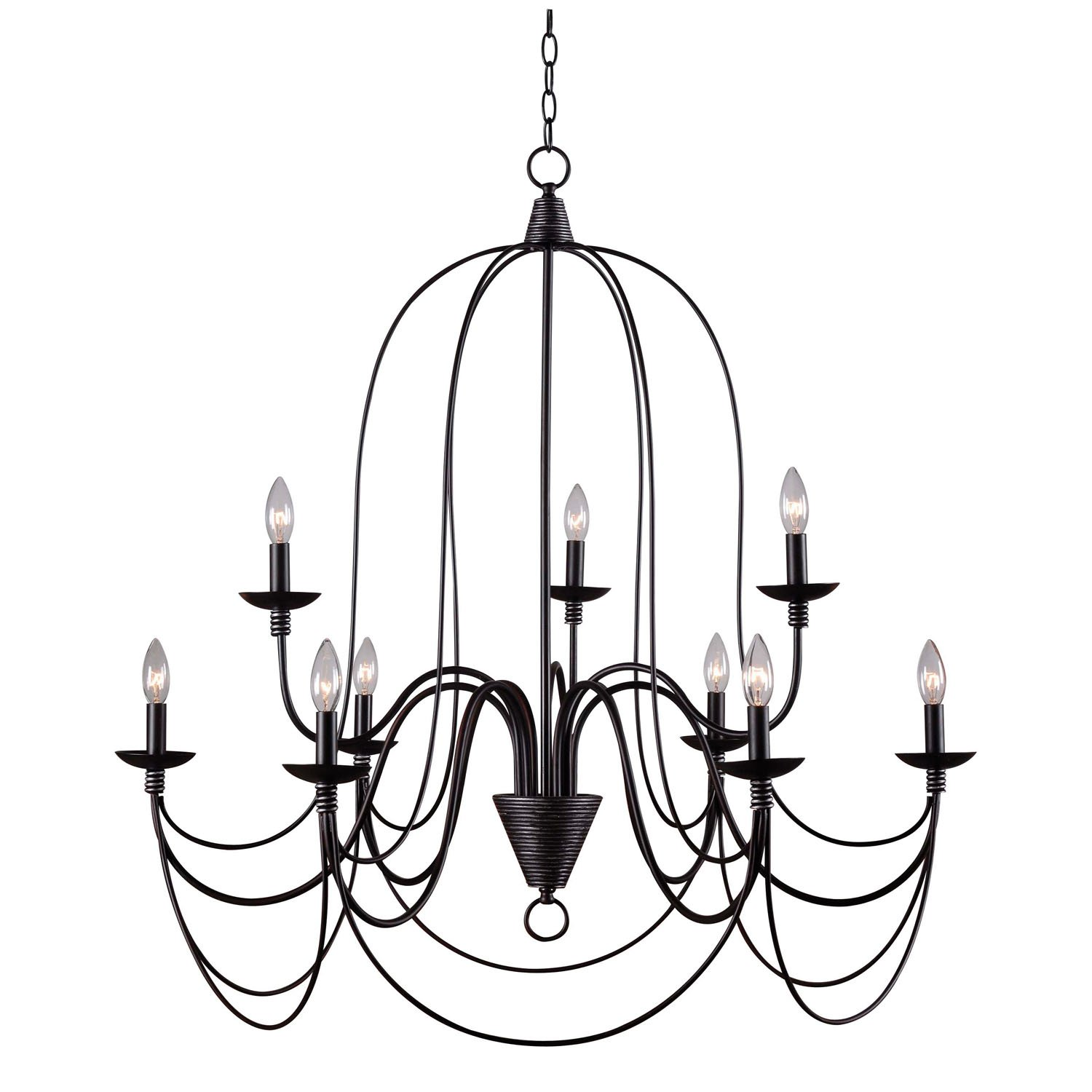 Kenroy Home ORB Pannier 9 Light Chandelier Blackened Oil