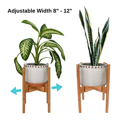 "Plant Stand Adjustable, Indoor Plants Stands, 8""-12"", 1 Pk, Wooden, Bamboo Construction, Mid Century Modern Trivet, Outdoor, Free Standing Display, for Ceramic Flower Pot, House Fern : Garden & Outdoor"