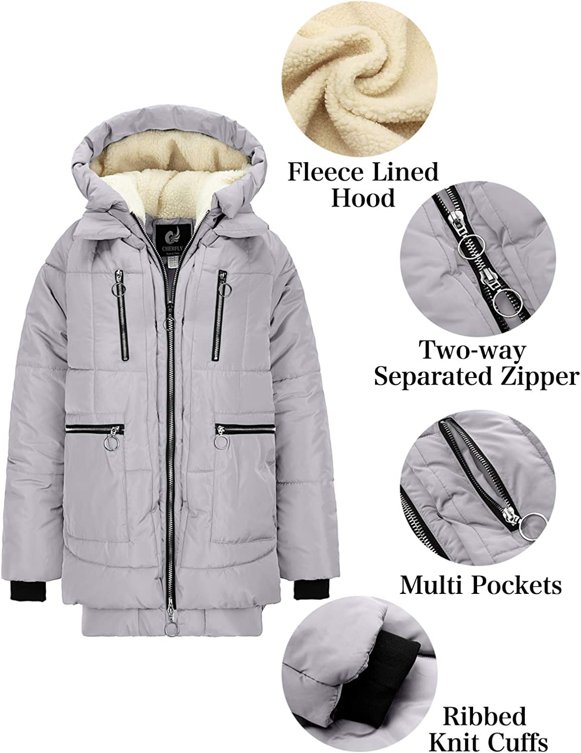 CHERFLY Womens Plus Size Jackets Winter Warm Thickened Long Parka Cotton Coats