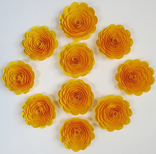 10 Bright Yellow Paper Roses Large Loose 3quot Flowers For Table Scatter Centerpiece