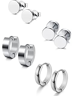 acc58947e Jstyle 4 Pairs Stainless Steel Stud Earrings for Men Women Hoop Earrings  Huggie Piercing 18G
