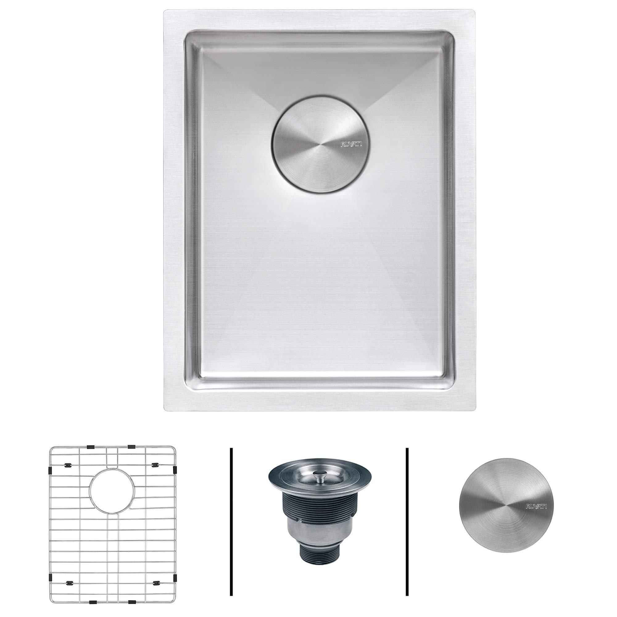 Ruvati 14-inch Undermount Wet Bar Prep Sink Tight Radius 16 Gauge Stainless Steel Single Bowl - RVH7114 by Ruvati