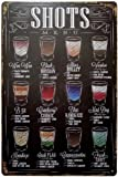 ERLOOD Shots Menu Retro Vintage Bar Metal Tin Sign poster style wall art pub bar decor 12 X8