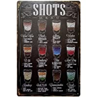ERLOOD Shots Menu Retro Vintage Bar Metal Tin Sign Poster Ptyle Wall Art Pub Bar Decor 12 X 8