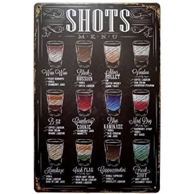 ERLOOD Shots Menu Retro Vintage Bar Metal Tin Sign Poster Ptyle Wall Art Pub Bar Decor 12 X 8