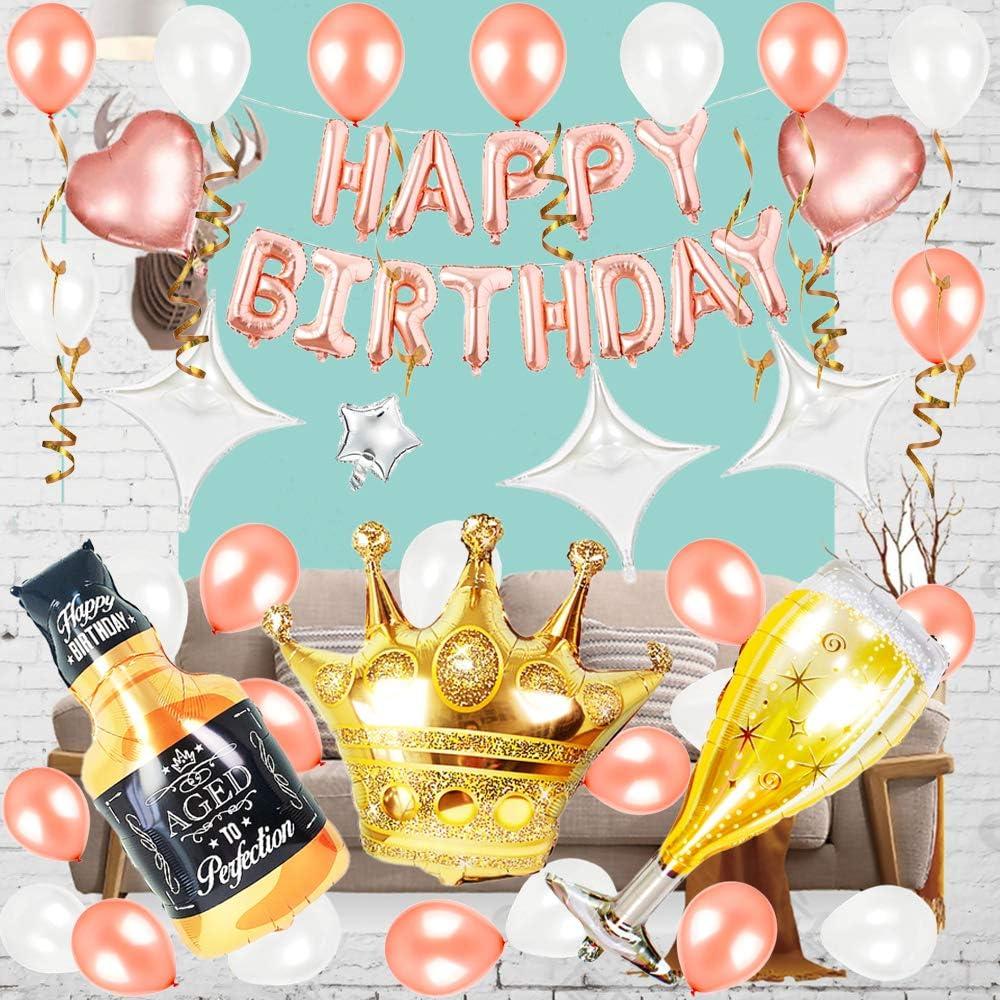 69pcs Rose gold pearl white Garland Kit , HAPPY BIRTHDAY Banner ,Champagne Bottle&Whisky Glass &Crown & Rose Golden& White Balloons for Princess Ballerina Bachelorette Party