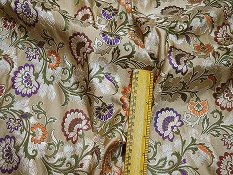 Banaras - Vestido de novia de seda brocado beige oscuro ...