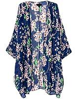 Olrain Women's Floral Print Sheer Chiffon Loose Kimono Cardigan Capes