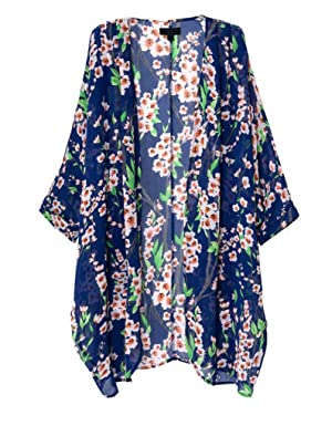 Olrain Women's Floral Print Sheer Chiffon Loose Kimono Cardigan Capes Blue Large