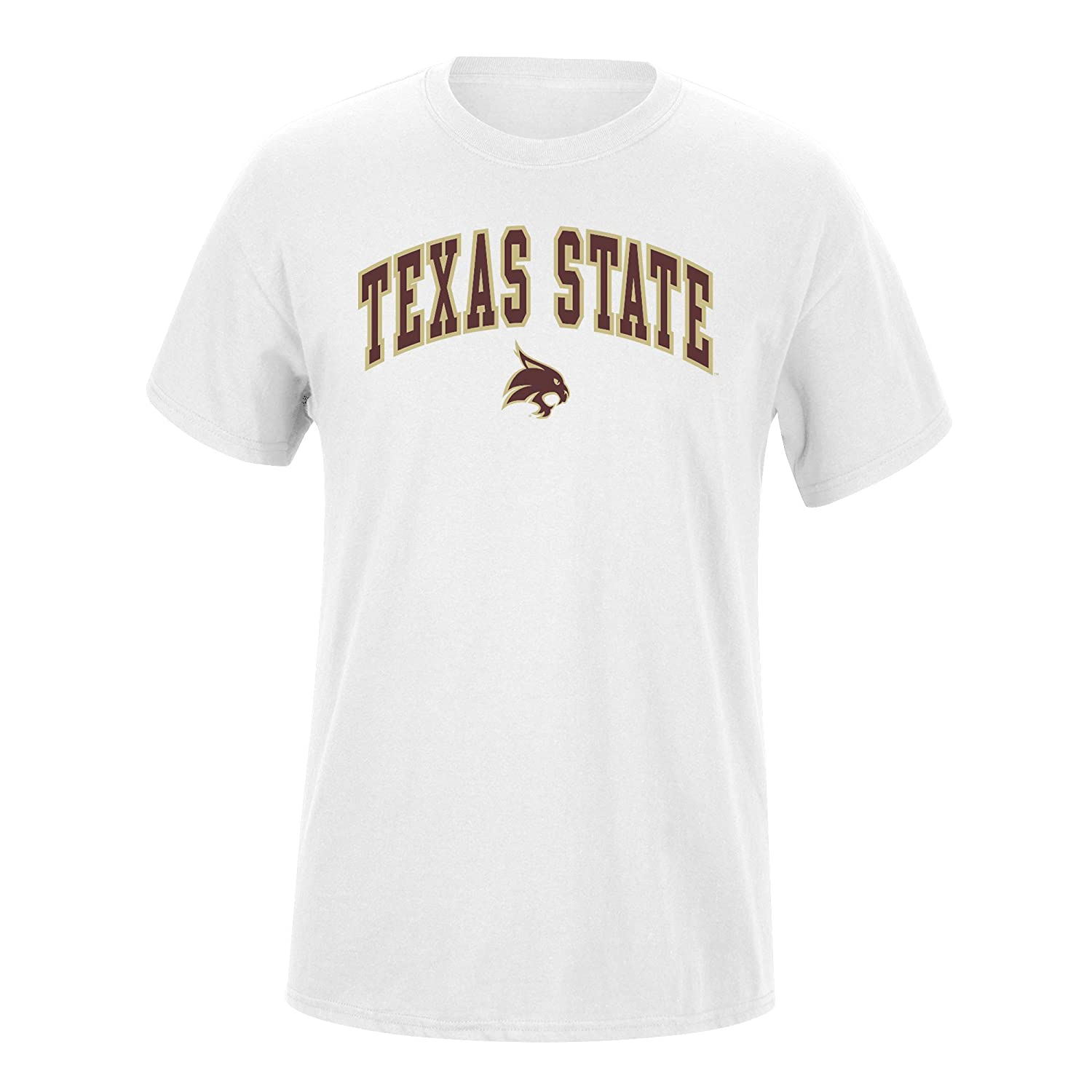 Elite Fan Texas State Bobcats Mens Short Sleeve Arch Tee Large White