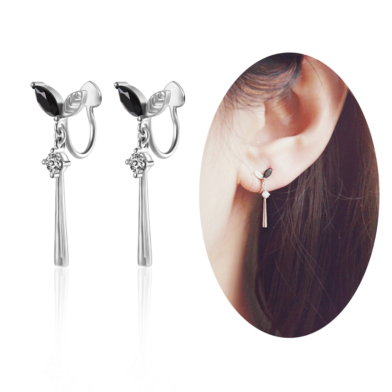 Aifeer 925 Sterling Silver Delicate Non-Pierced Ear Cuff Leaf Bud Drop Dangle Earrings Black Cubic Zirconia