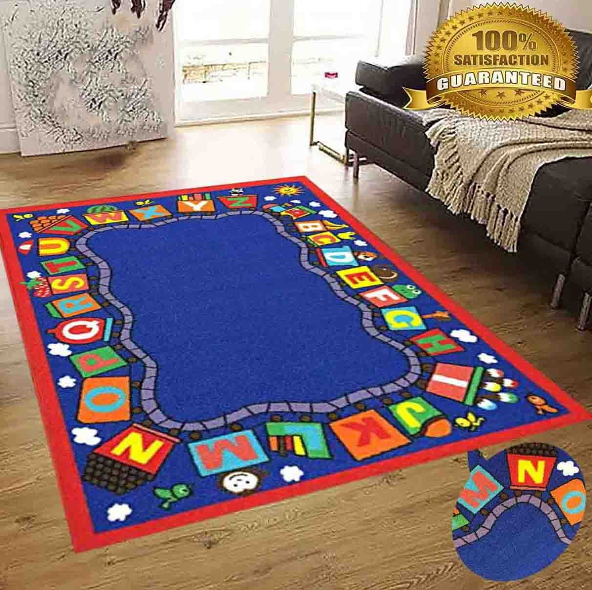 8x10 Kids Boys Children Toddler Playroom Rug Nursery Room Rug Bedroom Rug Fun Colorful ( Train ) by LA Rug Linens (Image #3)