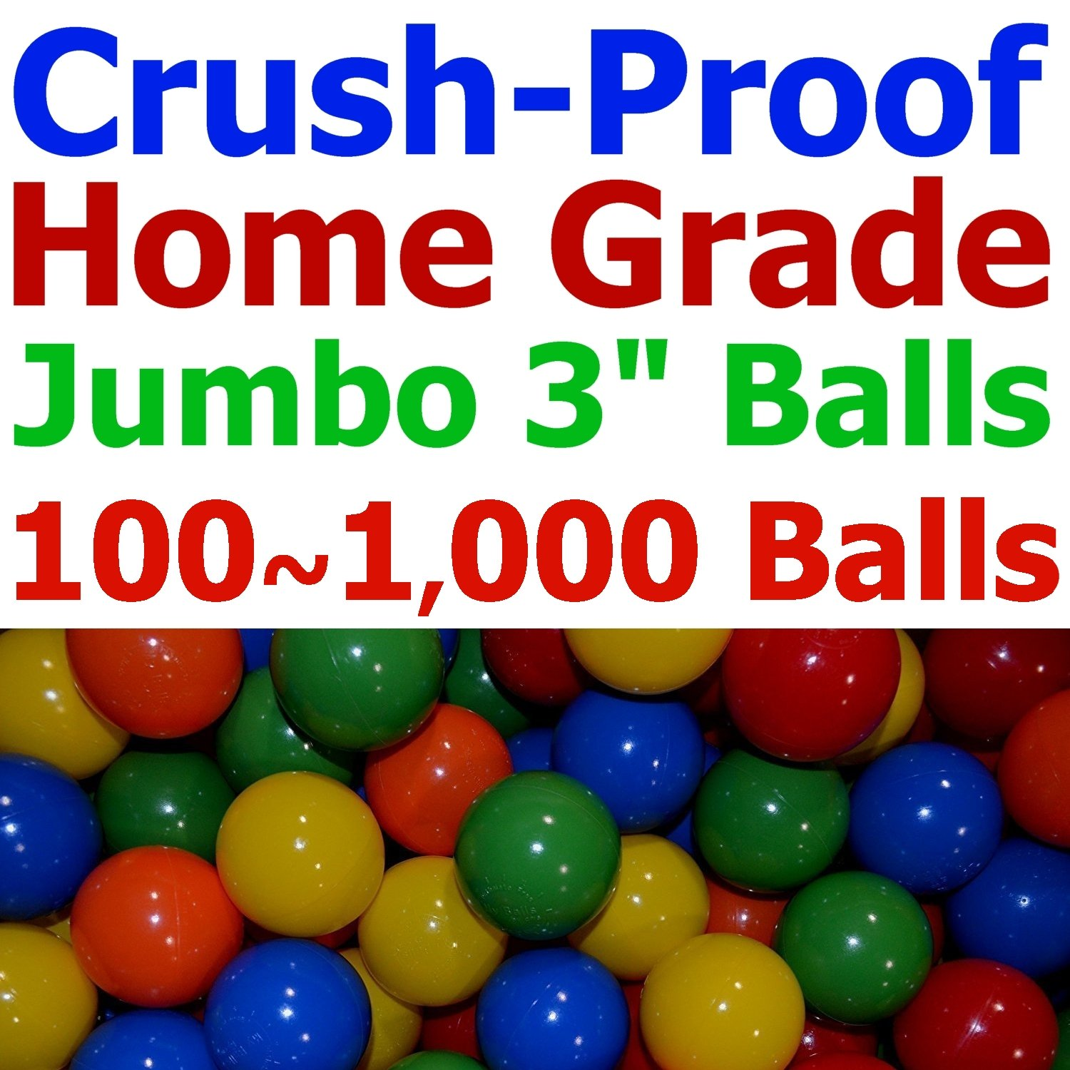 My Balls Pack of 100 Jumbo 3'' Crush-Proof Ball Pit Balls - 5 Bright Colors, Phthalate Free, BPA Free, PVC Free, Non-Toxic, Non-Recycled Plastic (Standard Home Grade, Pack of 100) by My Balls (Image #1)