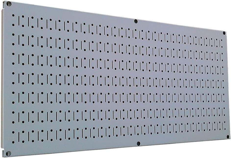 Wall Control Pegboard 16in x 32in Horizontal Grey Metal Pegboard Tool Board Panel