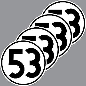 4 Aufkleber 10cm Startnummer 53 Sticker Auto Start Nummer