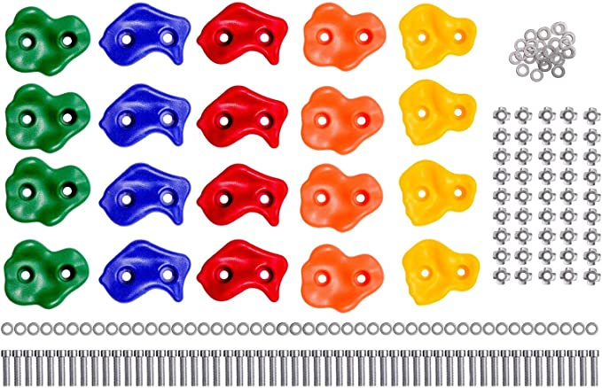 Presas de escalada para niños – Set de iniciación: 25 rocas de plástico con fijaciones metálicas para muro de escalada – Colores, formas y texturas ...
