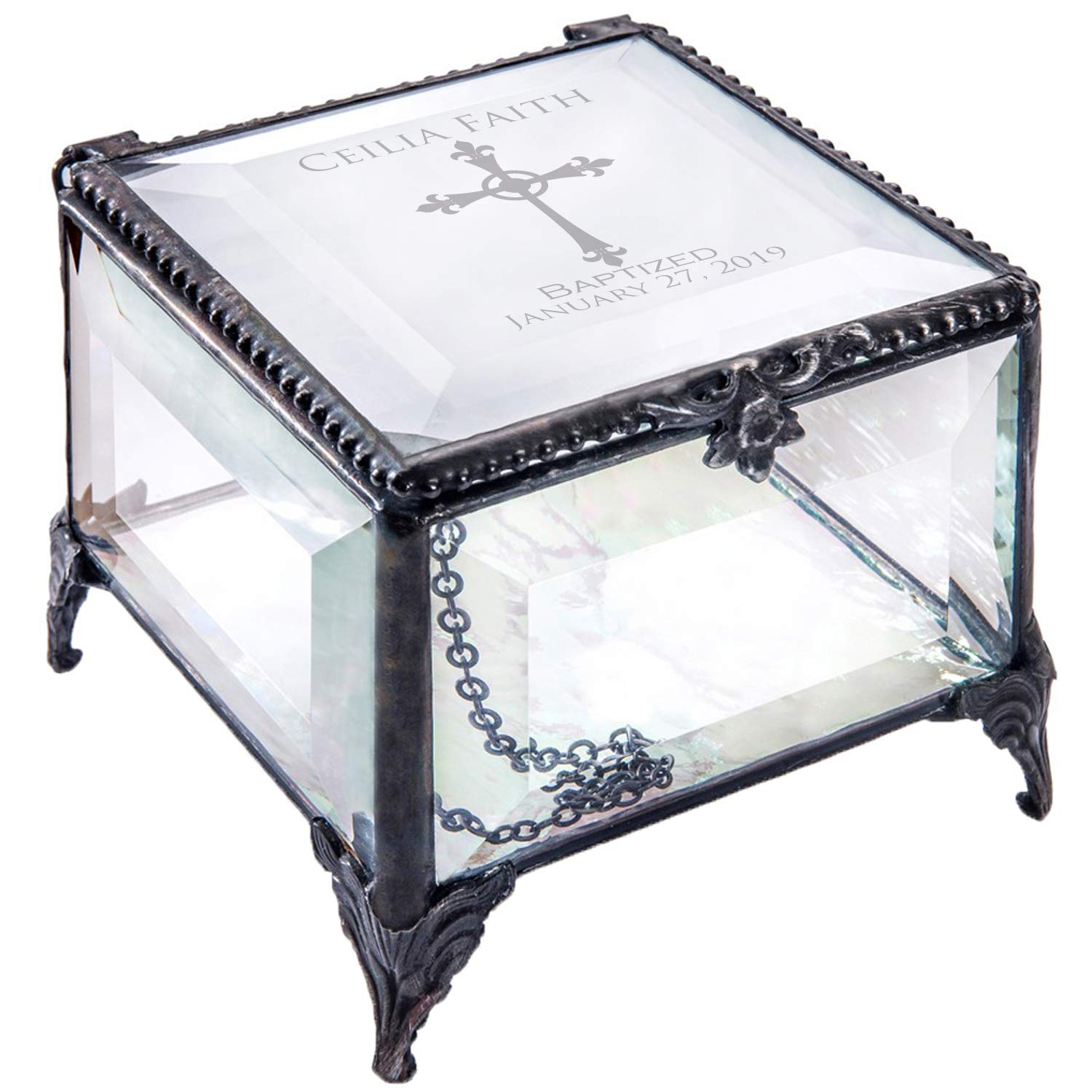 Baptism Gift for Girls Personalized Keepsake Box Clear Beveled Glass Engraved Cross Jewelry Daughter Goddaughter Granddaughter J Devlin Box 326 EB222