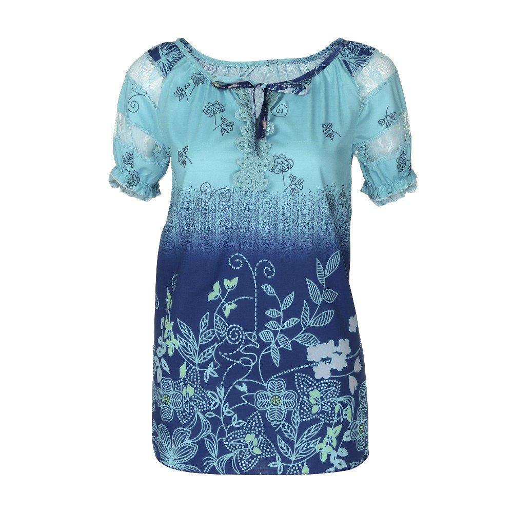 Sumeimiya Womens Printed Lace Tops, Short Sleeve V-Neck Lace T-Shirt Casual Loose Blouse Blue