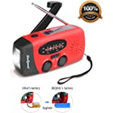 Wind Up Radio,Hand Crank Radio,Solar Radio,Multifunctional Emergency Self Powered Dynamo Weather Radio,LED Flashlight,Built-in 1000mAh Power Bank,USB Charging Port and Micro Cables