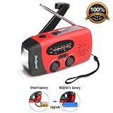 Wind Up Radio,Hand Crank Radio,Solar Radio,Multifunctional Emergency Self Powered Dynamo Weather Radio,LED Flashlight,Built-in 1000mAh Power Bank,USB Charging Port and Micro Cables