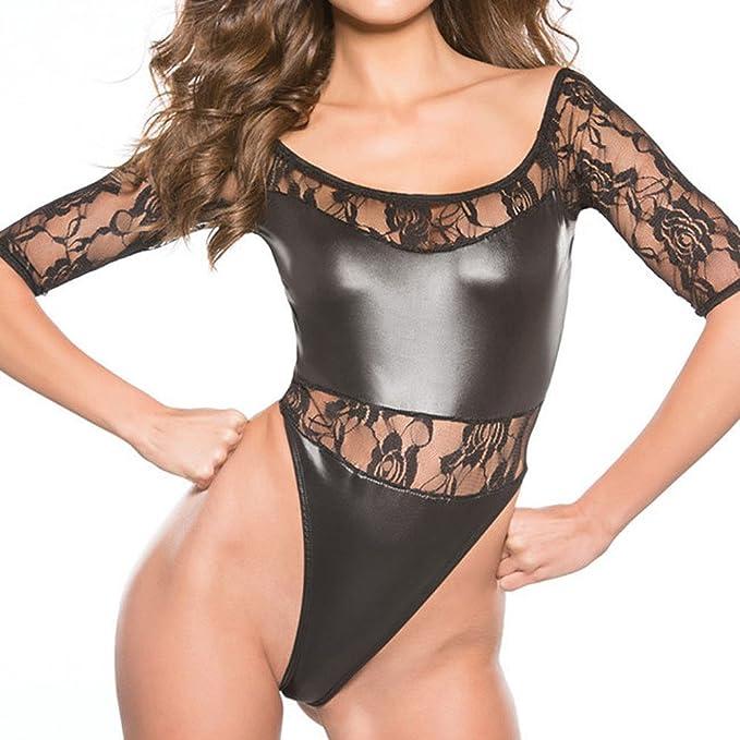 b899f108754 HOOUDO Women Sexy Faux Leather Wet Look Backless Mini Dress Temptation Underwear  Bodysuit Clubwear Dress Erotic Underwear (One Size, 2#Black): Amazon.co.uk:  ...