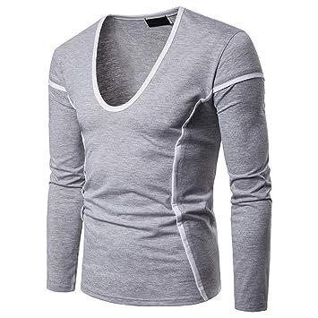 LuckyGirls Camisetas Casual Hombre Manga Larga Color de Hechizo Líneas Camisas Gimnasio Fitness Sudaderas Streetwear: Amazon.es: Deportes y aire libre