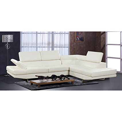 Beverly Furniture F18 WH 2 Piece Bonded Leather Sectional Sofa, Chaise  Adjustable Headrests U0026