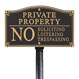 "SmartSign Private Property Sign for Yard, No Soliciting Loitering Trespassing Garden Plaque | 5.75"" x 9.5"" Aluminum Plaque with 18"" Black Lawn Stake"