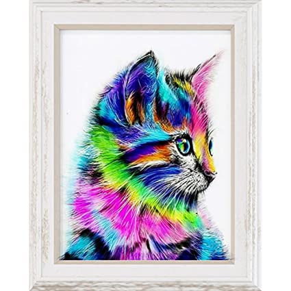 Amazon.com: Acamifashion Rainbow Cat 5D Diamond Painting Wall Art Home Decor Cross Stitch Craft