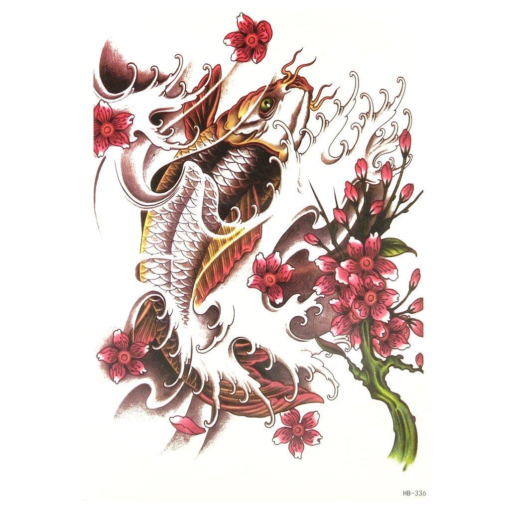 Oottati Tatuajes Temporales Old School Carpa Koi Flor (2 hojas ...