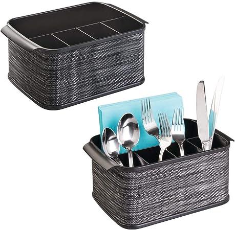 mDesign Juego de 2 cestas para Cubiertos con asa – Cestas con asa, Ideales para ordenar Cubiertos
